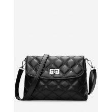 Quilted Stitching Twist Lock Crossbody Bag