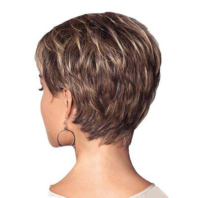 Short Colormix Inclined Bang Layered Straight Synthetic Wig fashion tilt design inclined bang short straight auburn women s synthetic wig