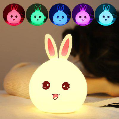 Control Color Changing Touch Cute Rabbit Silicone Night Light
