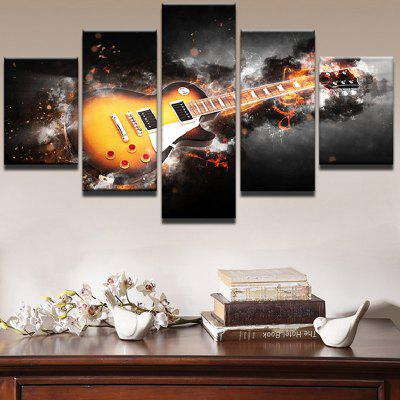 Burning Guitar Pattern Unframed Canvas Wall Art Paintings