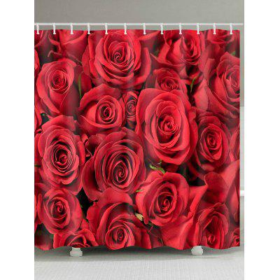 Romantic Rose Flower Printed Waterproof Shower Curtain