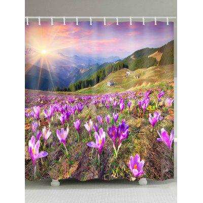 Flower Field Printed Waterproof Shower Curtain