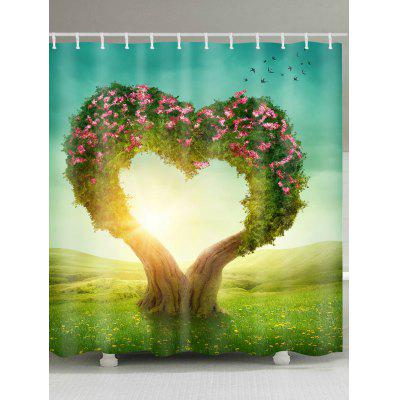 Heart Shape Tree Printed Waterproof Shower Curtain
