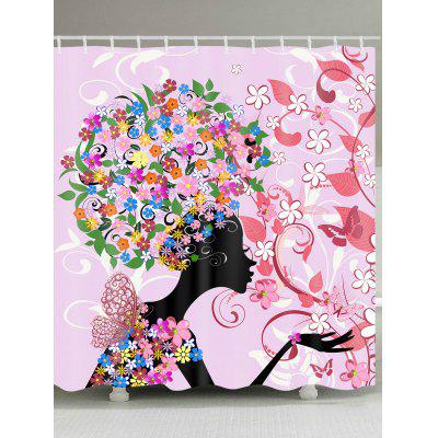 Little Flower and Butterfly Printed Waterproof Shower Curtain
