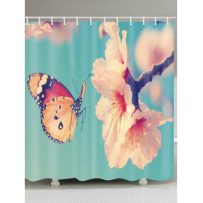 Peach Blossom and Butterfly Printed Waterproof Shower Curtain