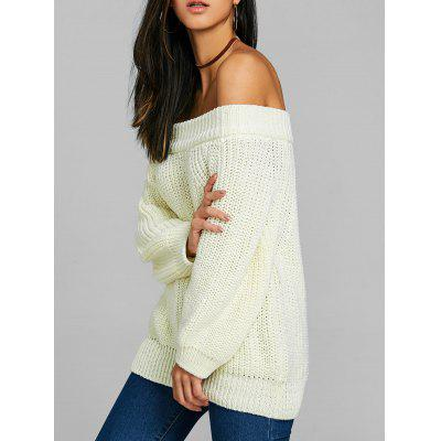 Raglan Sleeve Off The Shoulder Chunky Pull