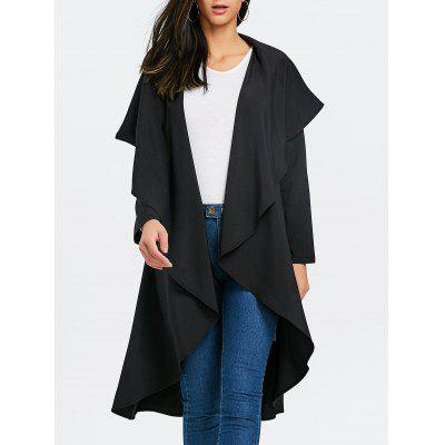 Turndown Collar Asymmetric Duster Coat