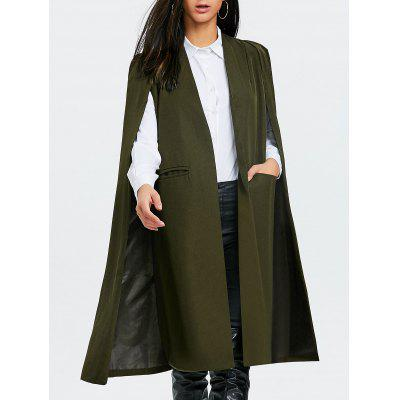 Longline Cape Coat with Slit Pocket