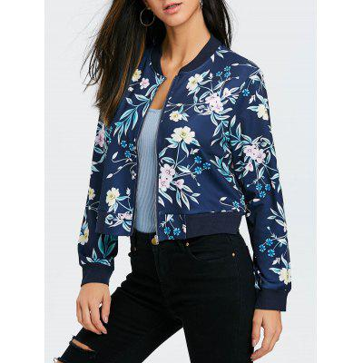 Zip Fly Floral Print Bomber Jacket