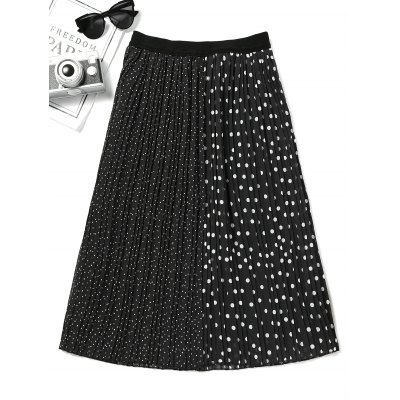Buy BLACK S Contrast Polka Dot Pleated Skirt for $25.03 in GearBest store