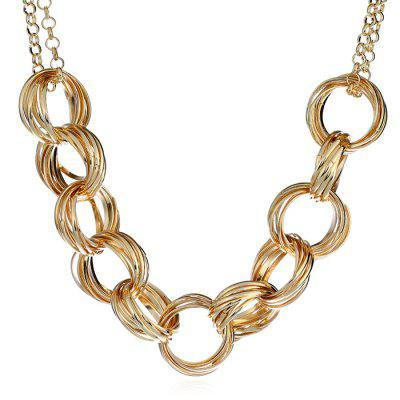 Metal Circles Linked and Decorated Necklace