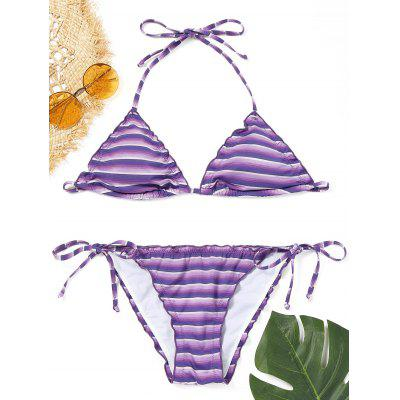 Micro Striped Low Waist Bikini Set