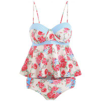 Floral Peplum Push Up Tankini Set