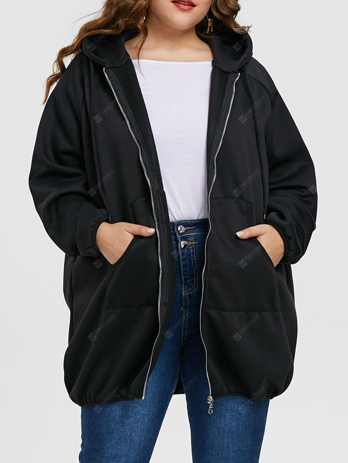 Plus Size Long Graphic Zip Up Hoodie