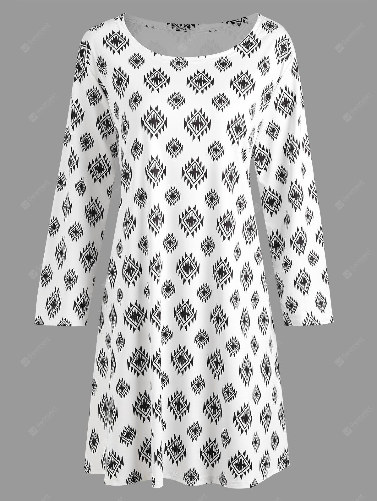 Plus Size Geometric Print Tunic T-shirt