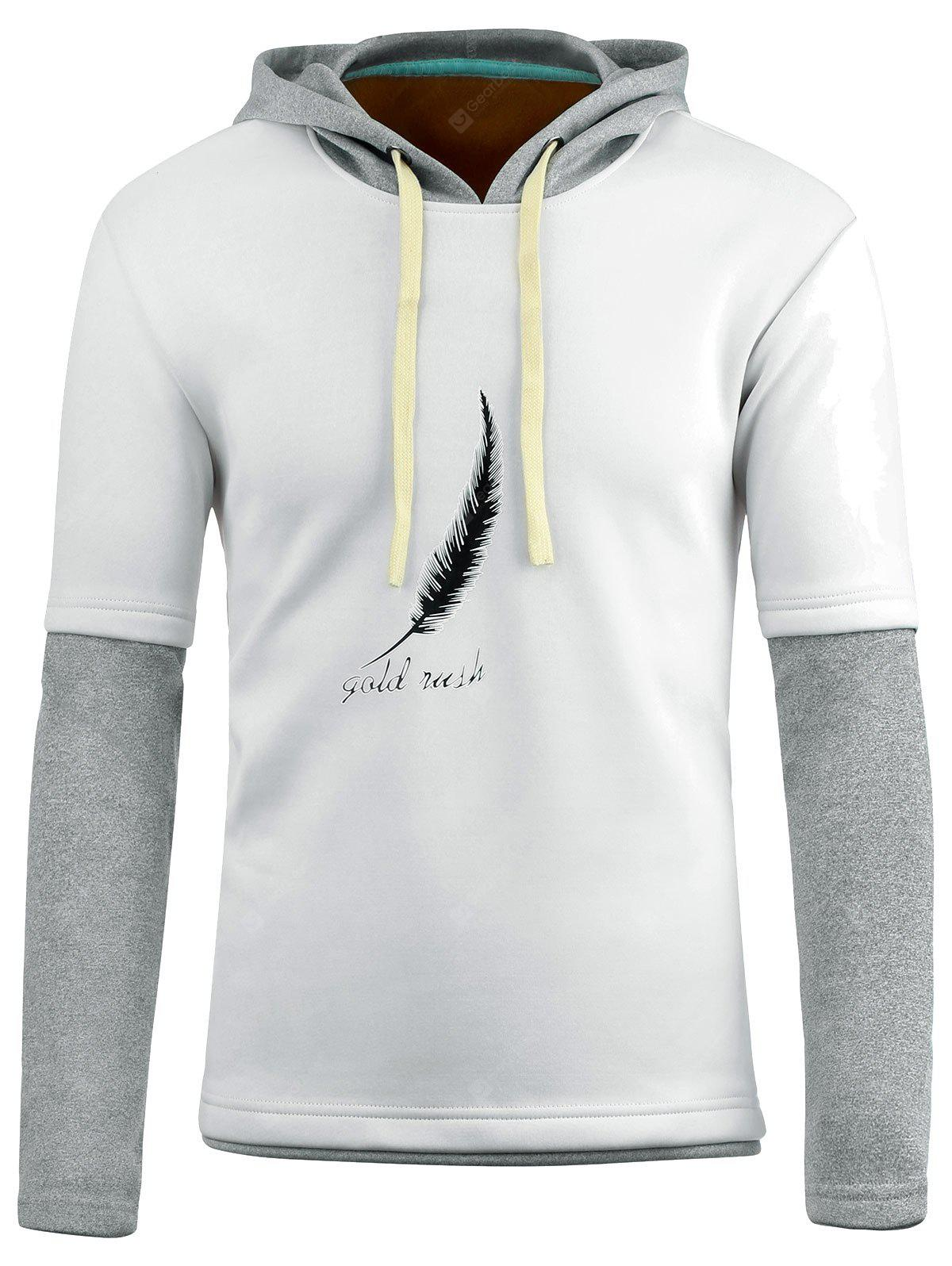 Feather Print Flocking Faux Twinset Pullover Hoodie