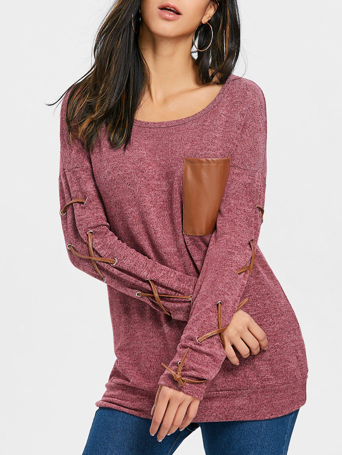 Pocket Heathered Lace Up Sleeve Top