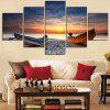 Seaside Sunset Boat Print Split Unframed Canvas Paintings - COLORFUL