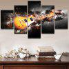 Burning Guitar Pattern Unframed Canvas Wall Art Paintings - YELLOW AND GRAY