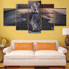 Cat and Tiger Print Split Unframed Canvas Paintings - GRAY