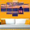 Seaside Sunset Candle Print Split Unframed Canvas Paintings - COLORFUL