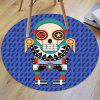Cartoon Robot Print Antislip Round Bath Rug - Синий