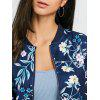 Zip Fly Floral Print Bomber Jacket - DEEP BLUE