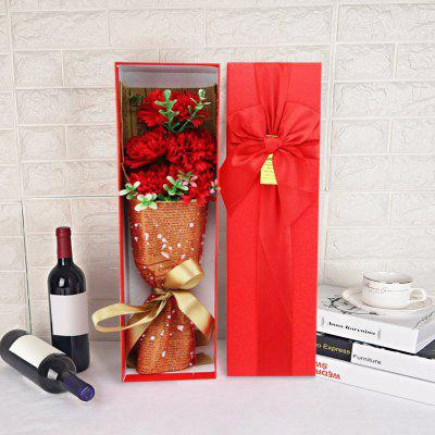 5pcs Carnation Scented Soap Flower Bouquet Gift Box