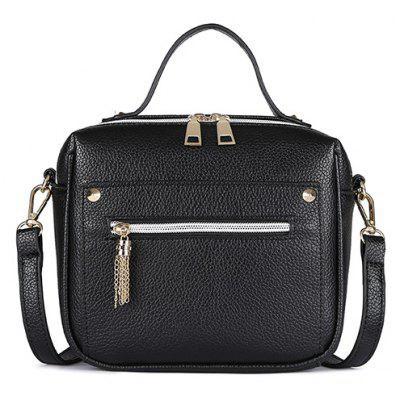 Metal Tassel Faux Leather Crossbody Bag