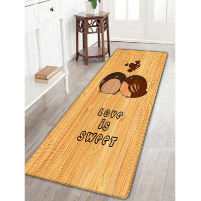 Valentine's Day Love Is Sweet Wood Grain Flannel Nonslip Bath Rug