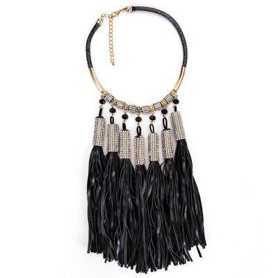 Vintage Rhinestone Embellished Tassel Long Necklace