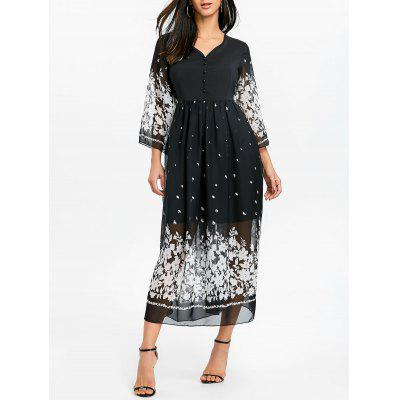 Bell Sleeve Floral Midi Chiffon Dress