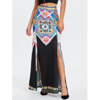 High Waisted Tribal Print Maxi Skirt