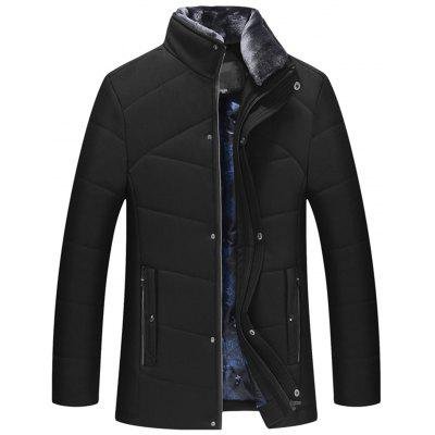 Detachable Faux Fur Collar Zip Up Padded Jacket