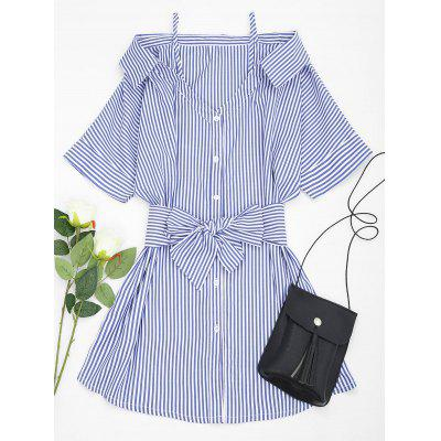 Open Shoulder Striped Belted Cami Dress