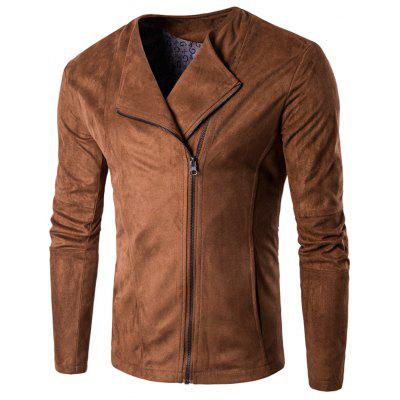 Turndown Collar Zip Up Faux Suede Jacket