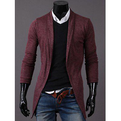 Shawl Collar Knitted Open Front Longline Cardigan