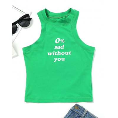 Letter Slogan Cropped Tank Top
