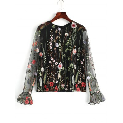 Floral Embroidered See Through Tulle Top
