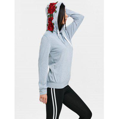 Floral Applique Drawstring Sports Hoodie