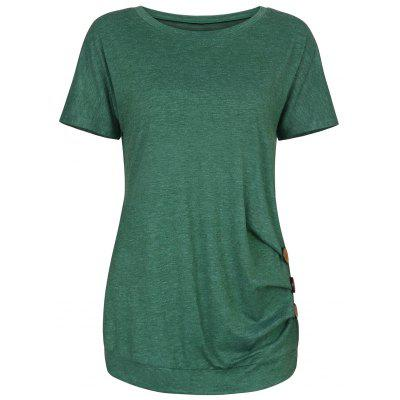 Button Embellished Longline Tee