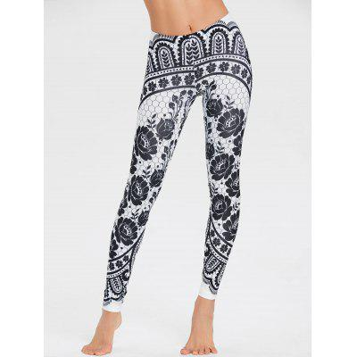 Monochrome Blumen Leggings