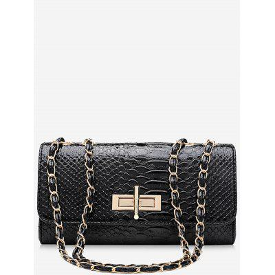 Crocodilo Print Chain Shoulder Bag