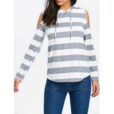 Striped Cold Shoulder Hoodie