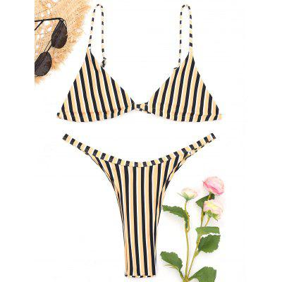 Bralette Striped Thong Bikini Set