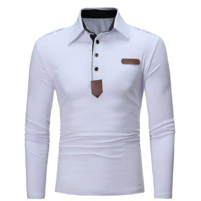 Polo Collar PU Leather Applique Long Sleeve T-shirt
