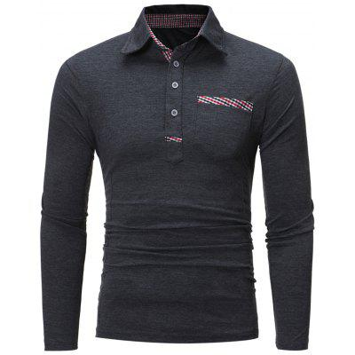 Kariertes Panel Pocket Langarm-Polo-T-Shirt
