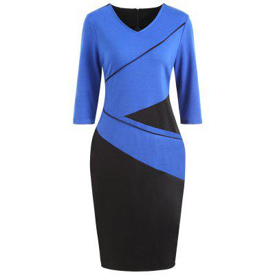 V Neck Color Block Pencil Dress