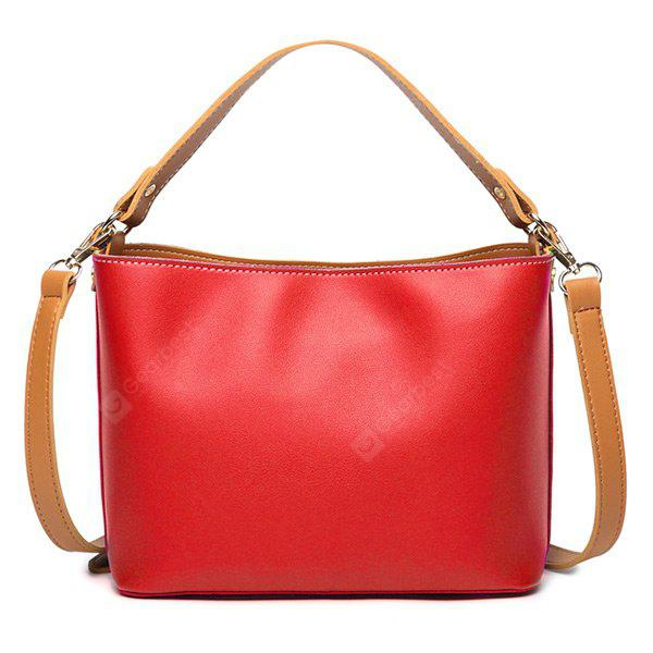 PU Leather Two Tone Handbag