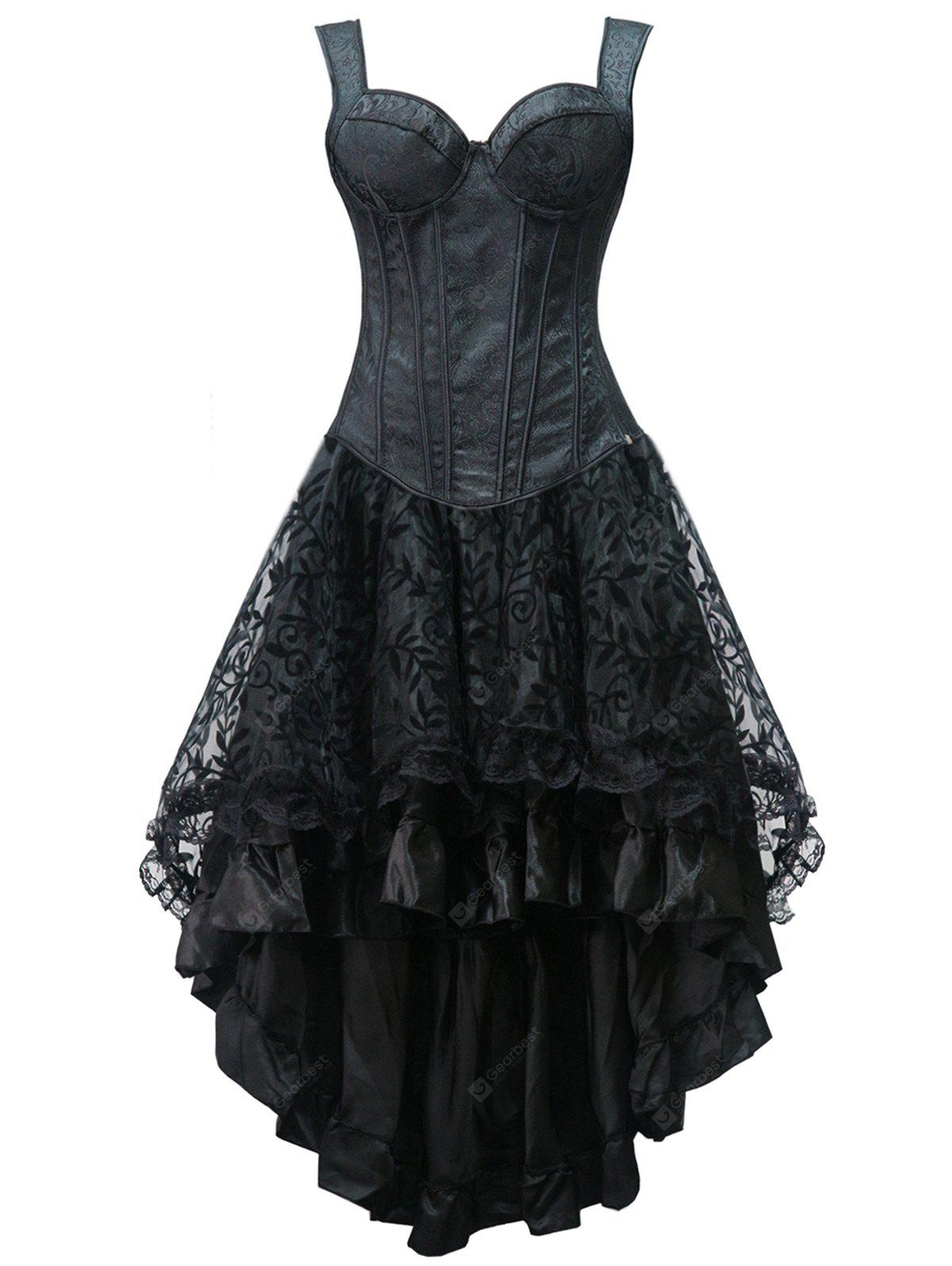 Lace Up High Low Steel Boned Corset Dress